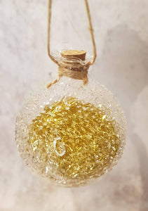 GLASS BAUBLE WITH GOLD DETAIL AND LED