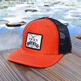 Fish On Patch Orange & Black Hat