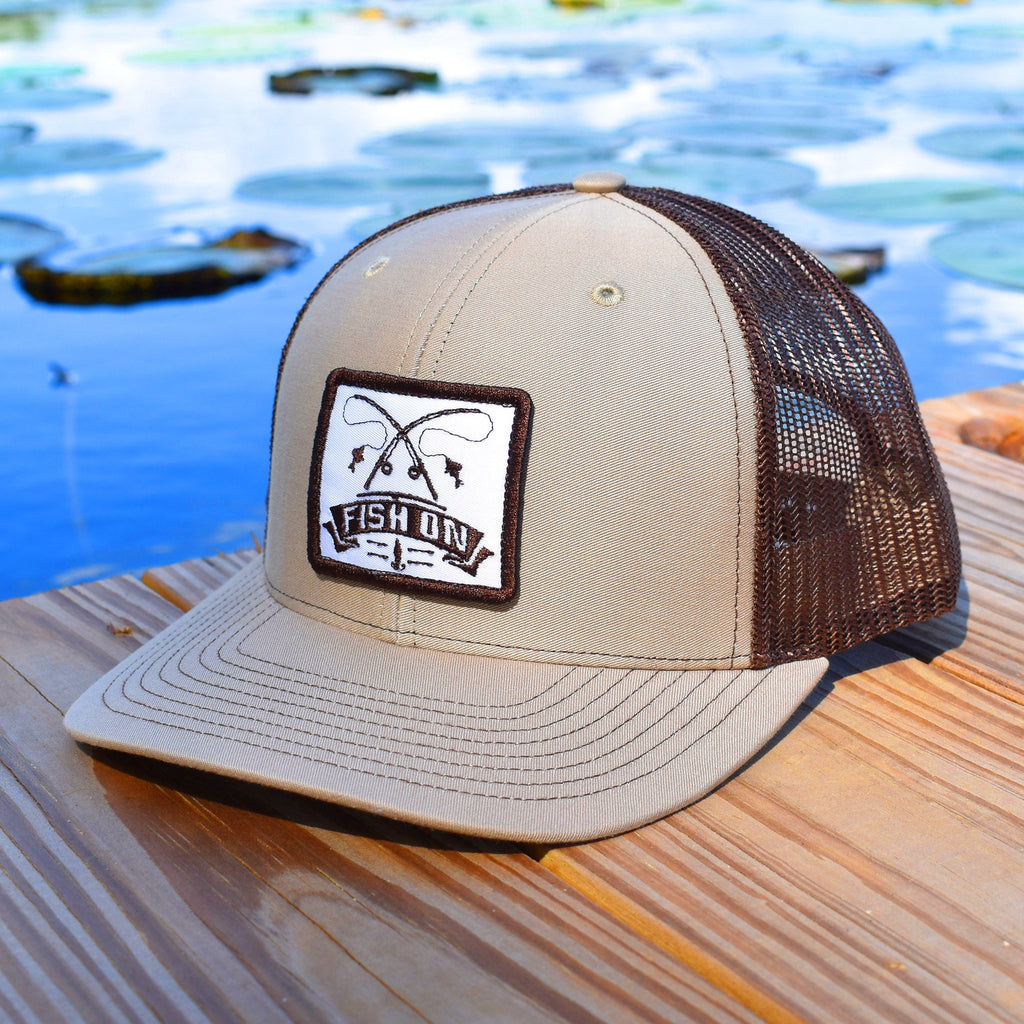 Fish On Patch Khaki & Coffee Hat