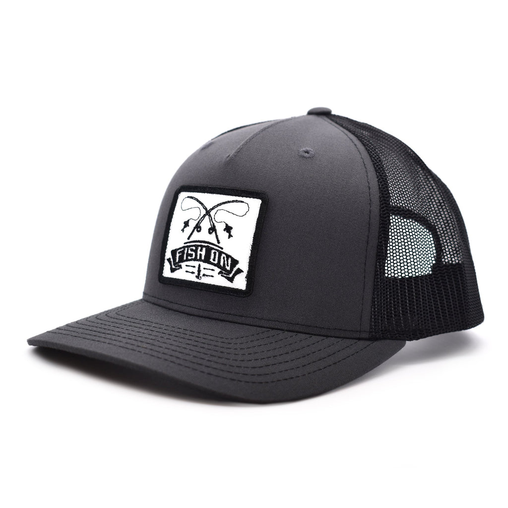 Fish On Patch Charcoal & Black Hat