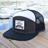 Fish On Patch Charcoal / Black / White Hat