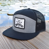 Fish On Patch Heather Grey & Black Hat