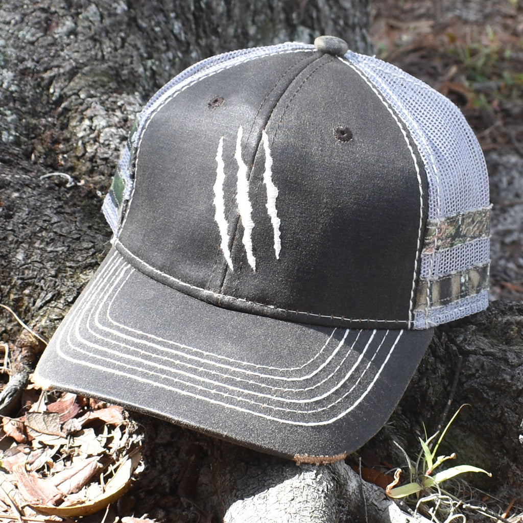 Brown Camo Claw Scratch Sport Frayed Hat