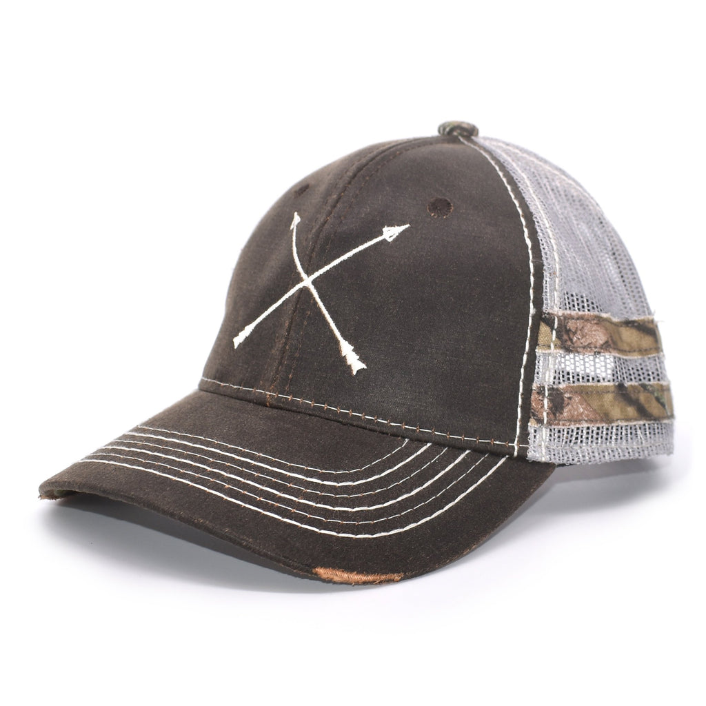 Brown Camo Arrows Sport Frayed Hat