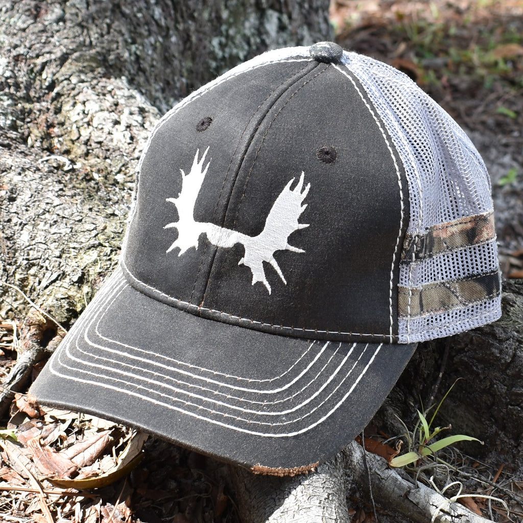 Brown Camo Moose Sport Frayed Hat