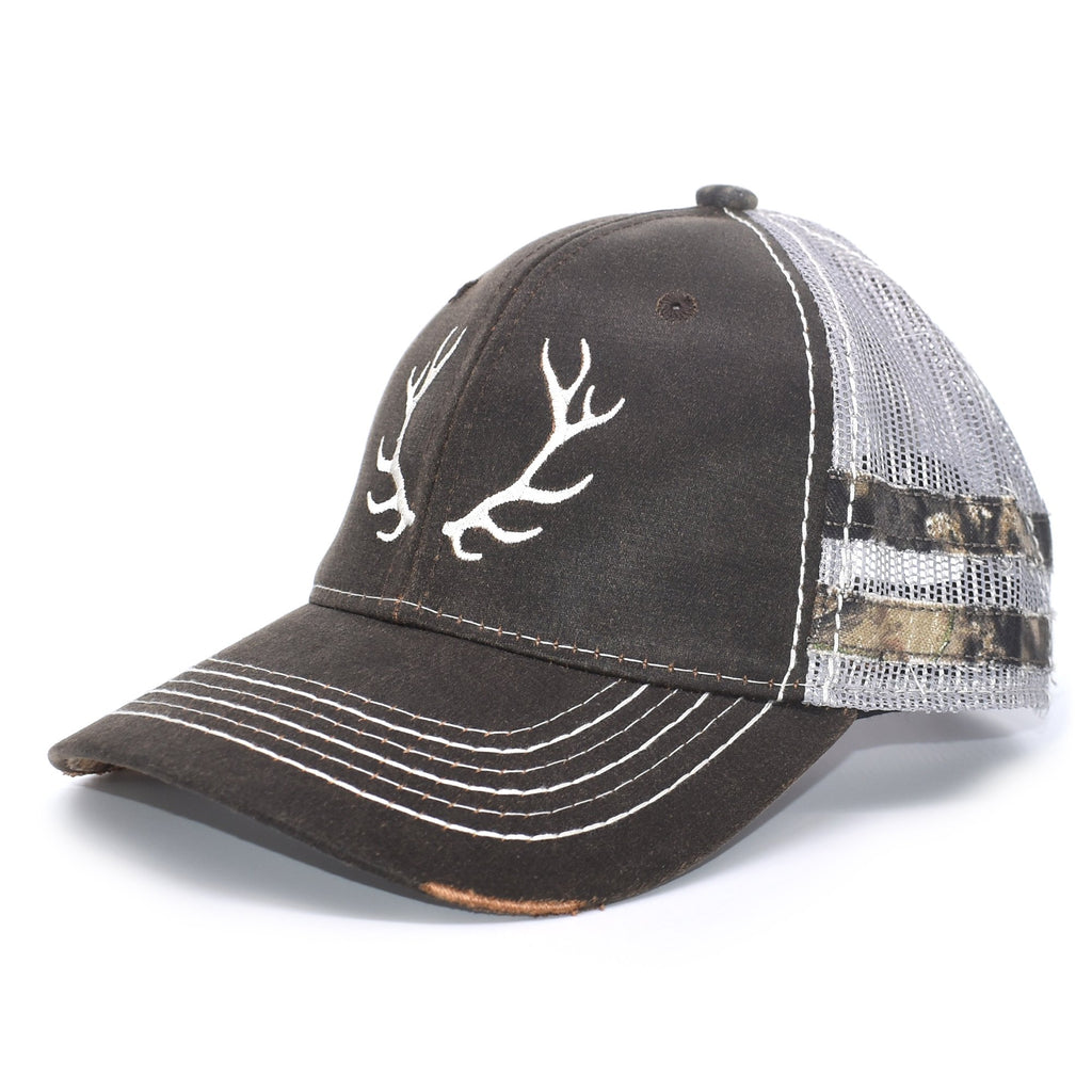 Brown Camo Elk Sport Frayed Hat