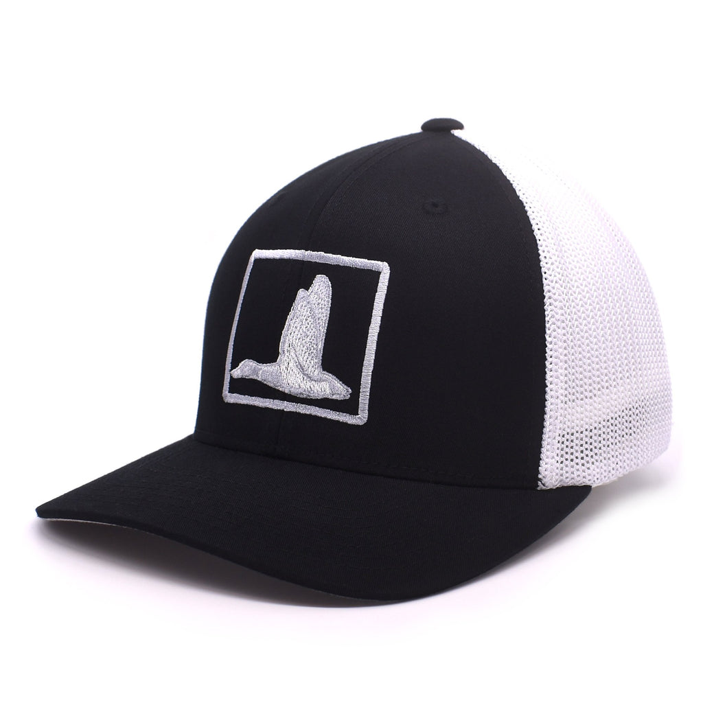Duck Embroidered Black & White Hat