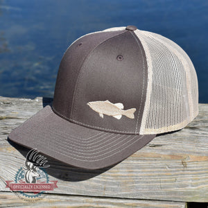 Bass Fishing Brown Retro Trucker Hat - Bucks of America