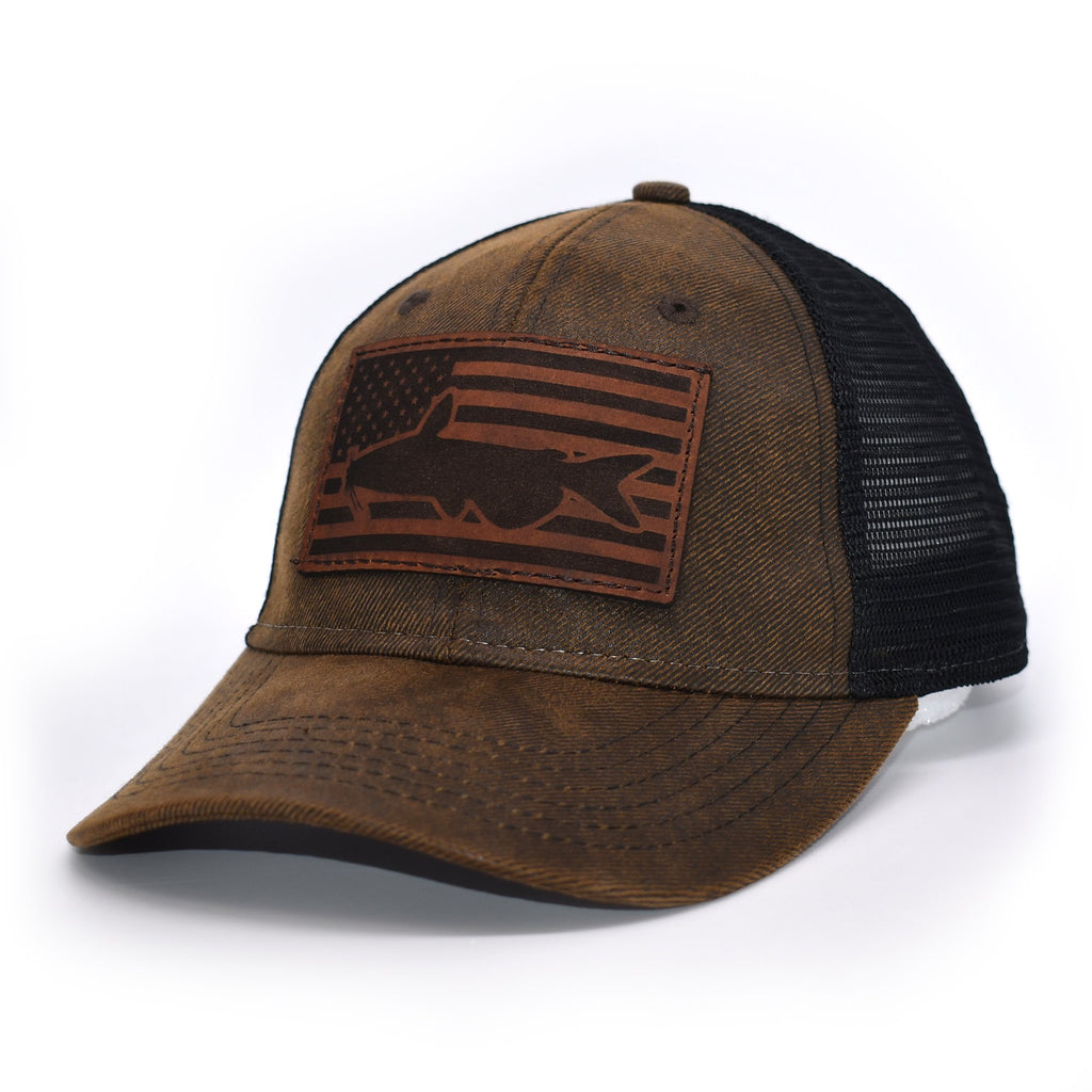 Catfish Leather Patch Flag Hat - Brown / Black - Bucks of America