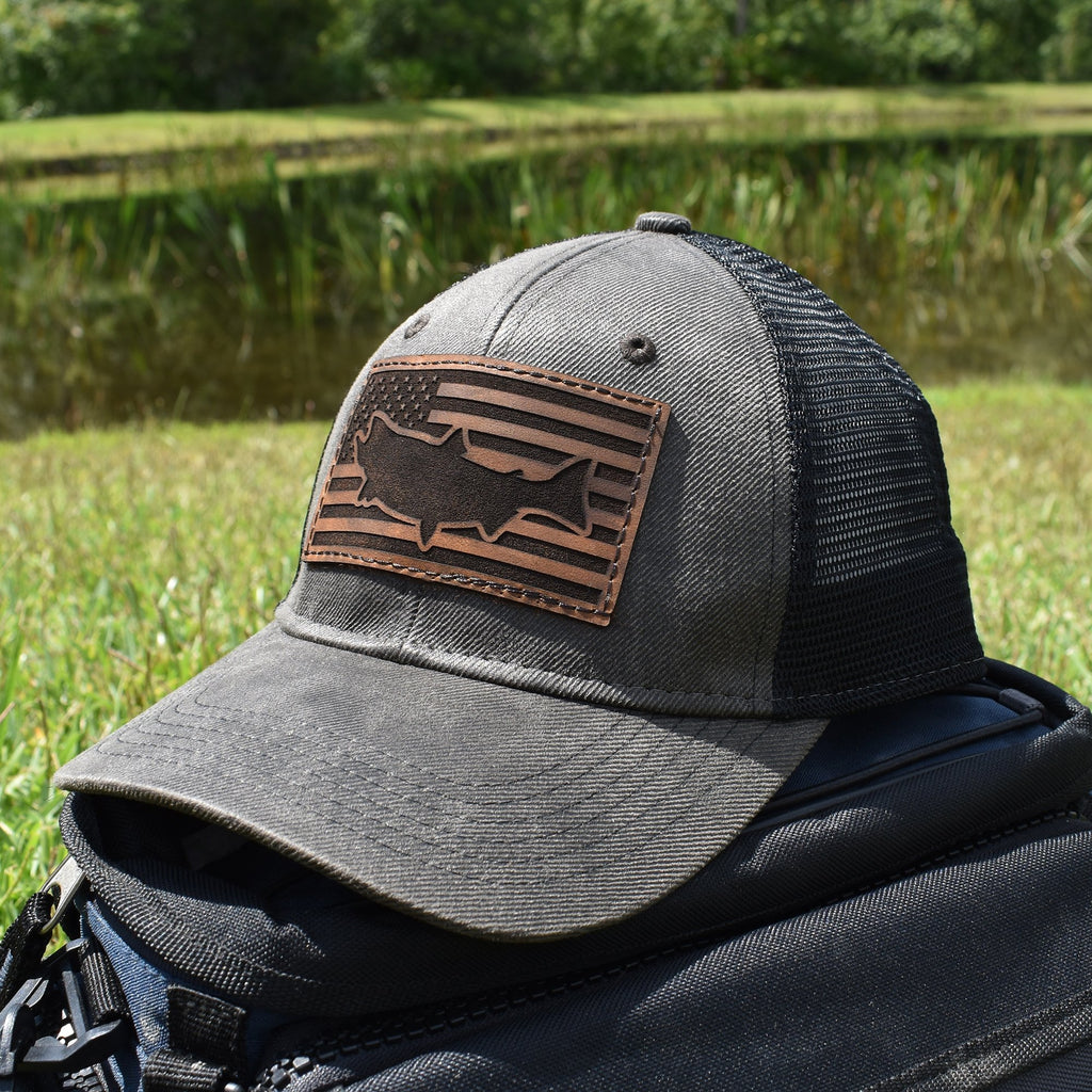 Salmon Leather Patch Flag Hat - Dark Brown / Black