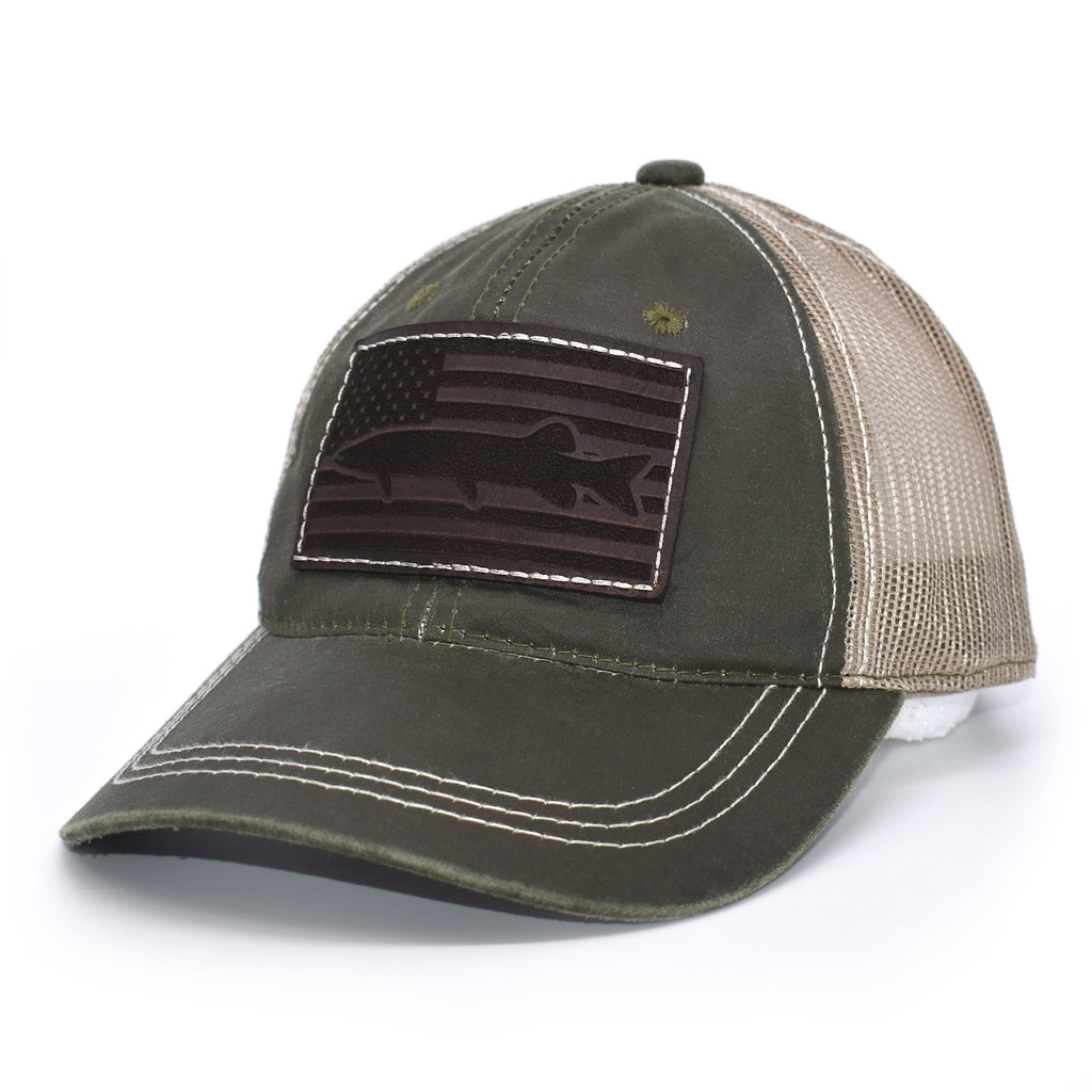 Muskie Leather Patch Flag Hat - Olive