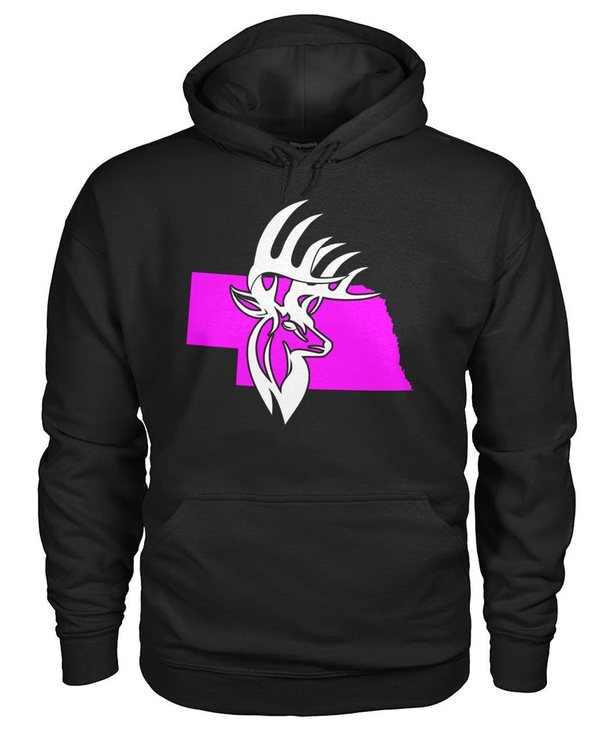 Nebraska Bucks Head Ladies Black Hoodie Gildan Hoodie
