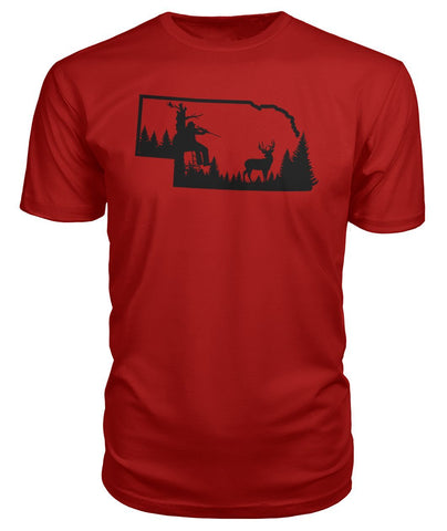 Nebraska Rifle Hunter Scene Premium Tee