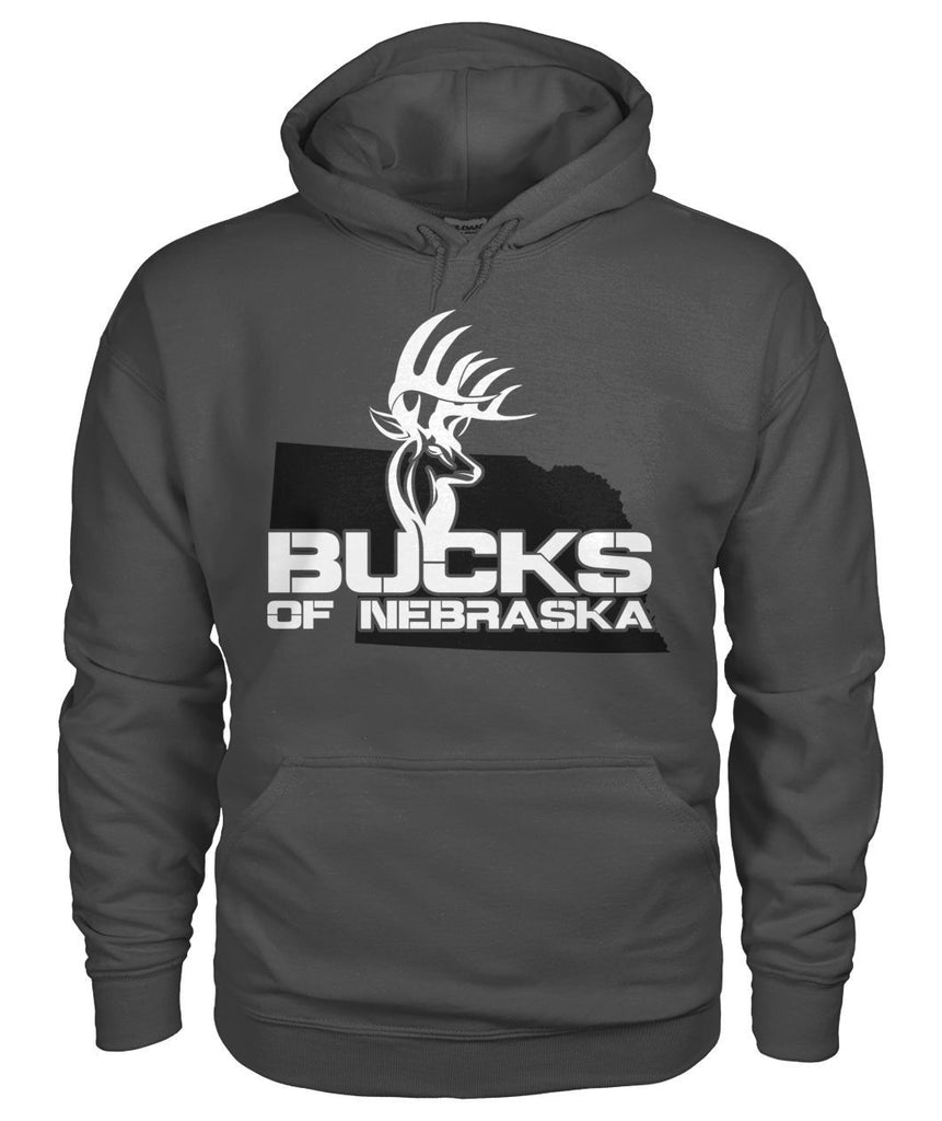 Bucks of Nebraska Logo with State Gildan Hoodie - Bucks of America
