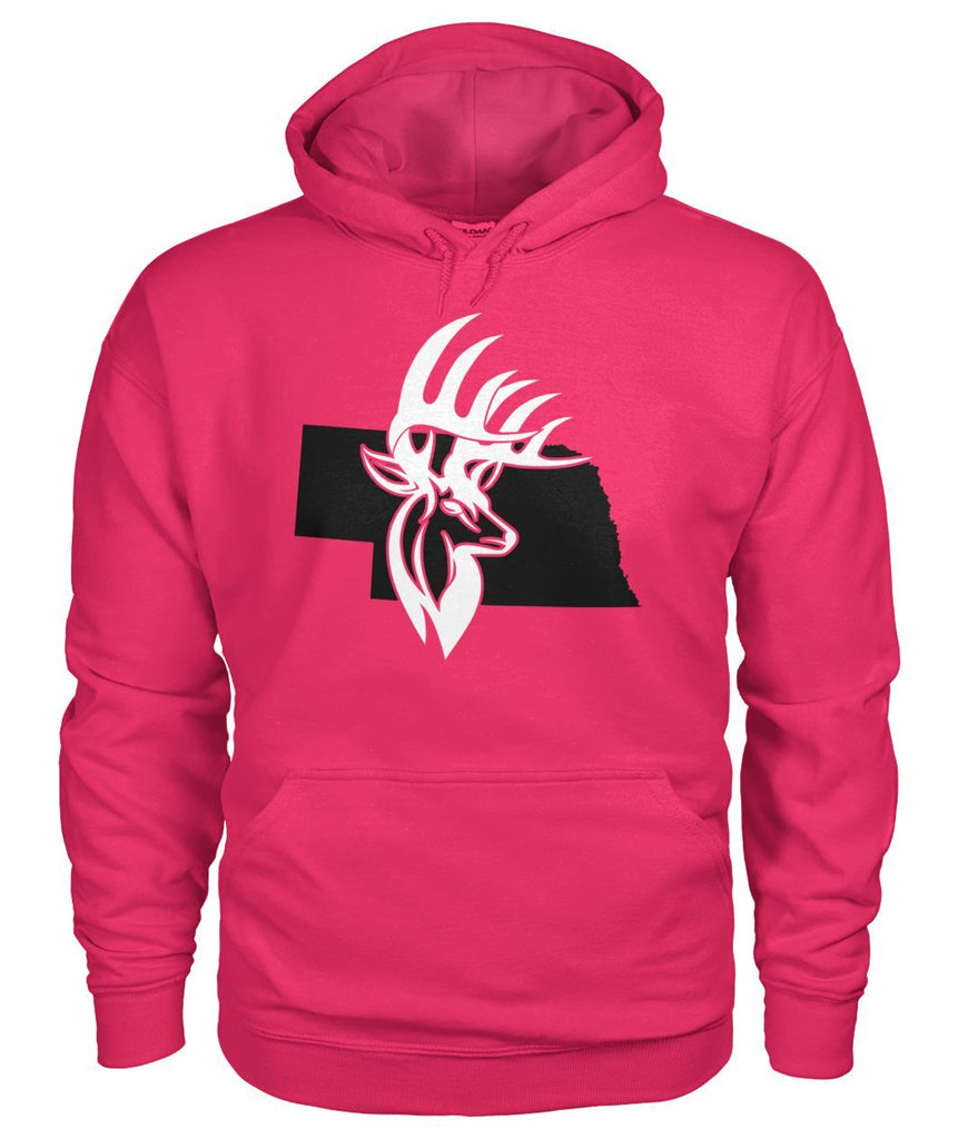 Nebraska Bucks Head Ladies Pink Hoodie Gildan Hoodie