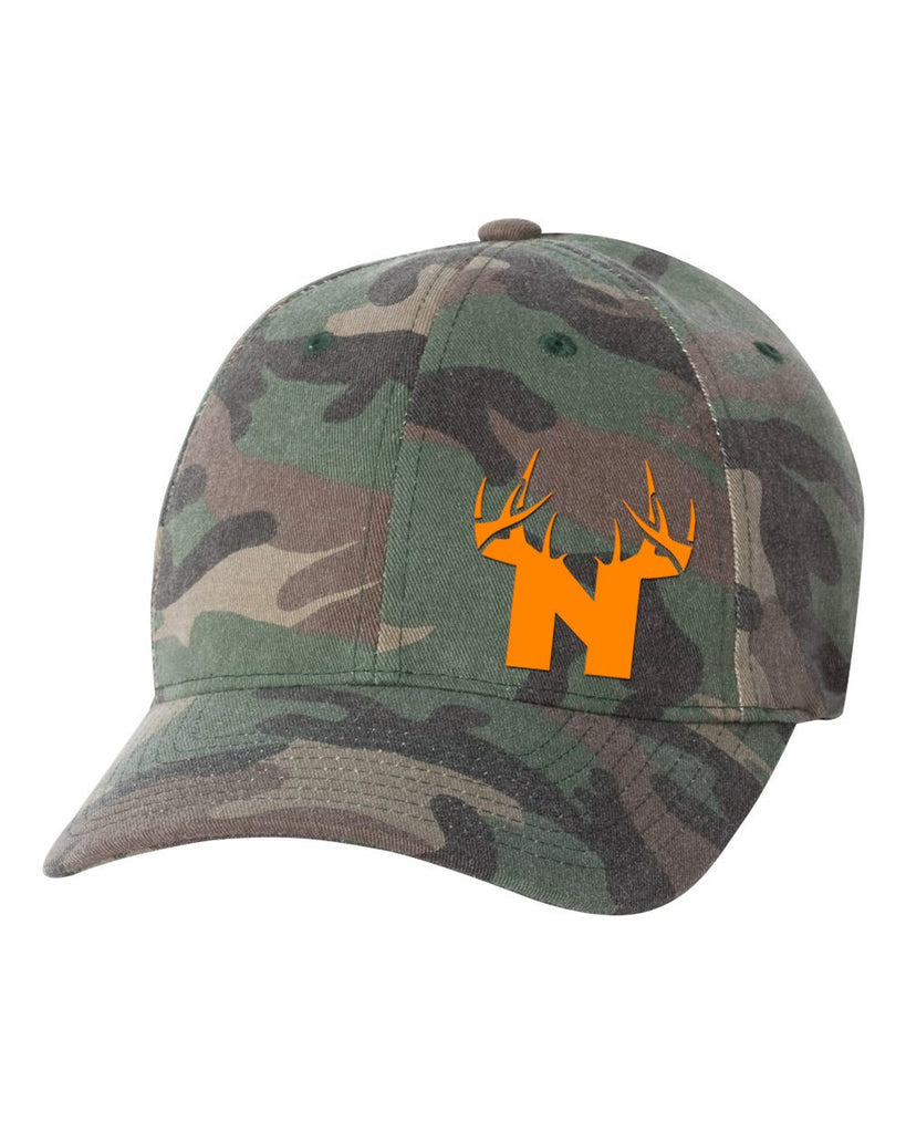Bucks of Nebraska N Orange Logo on Camo Fitted - Bucks of America
