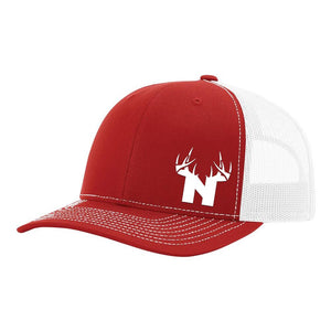 Nebraska White Antler Logo - Red / White - Bucks of America