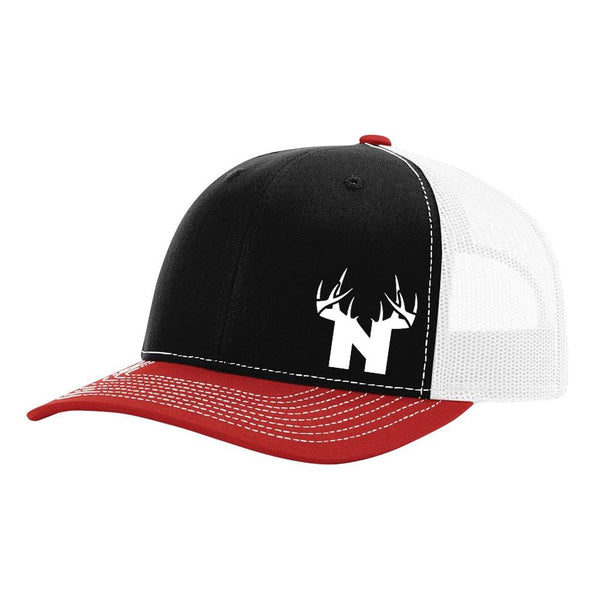 Nebraska White Antler Logo - Black / White / Red - Bucks of America