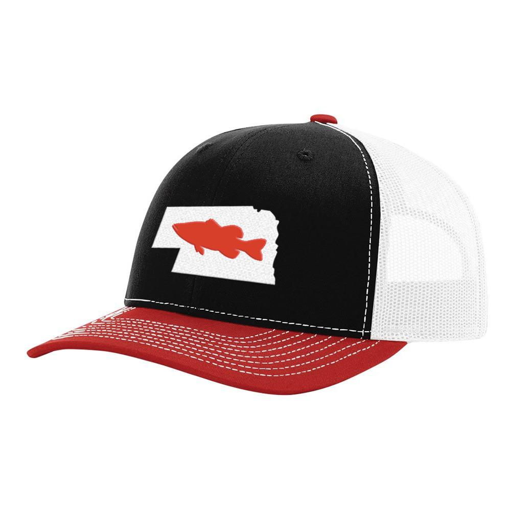 Nebraska Red Bass Hat - Black/White/Red - Bucks of America