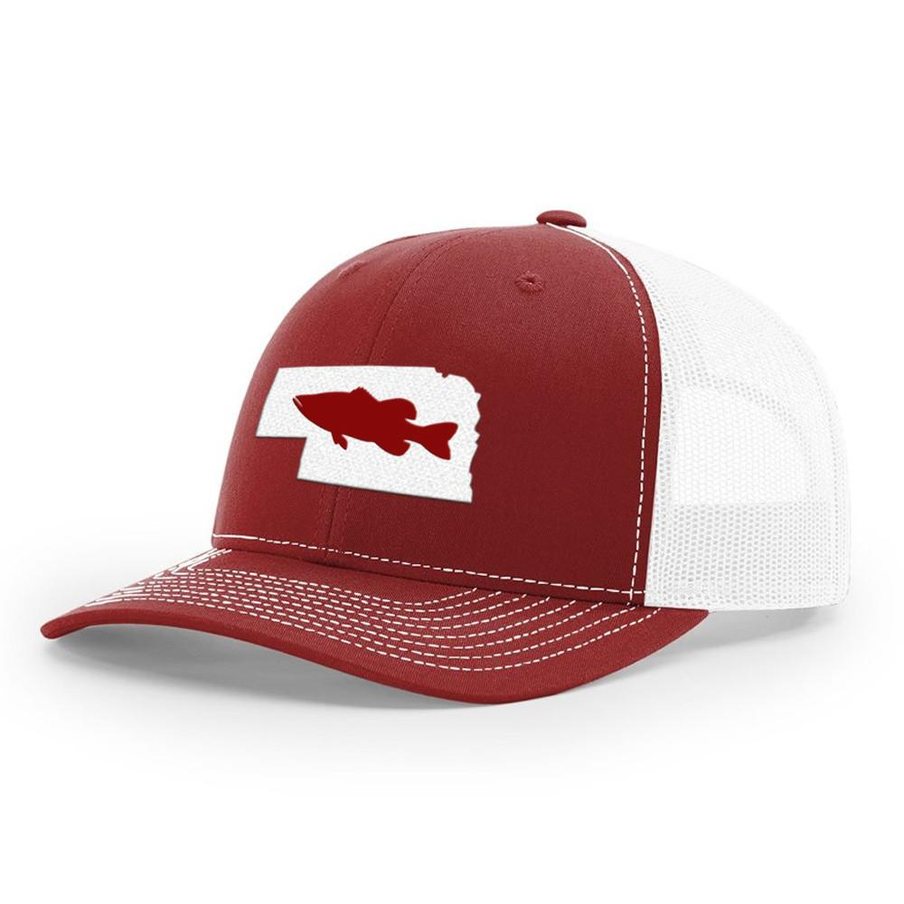 Nebraska Bass Hat - Cardinal/White - Bucks of America