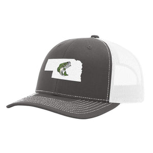 Nebraska Jumping Bass Hat - Green on Charcoal/White - Bucks of America