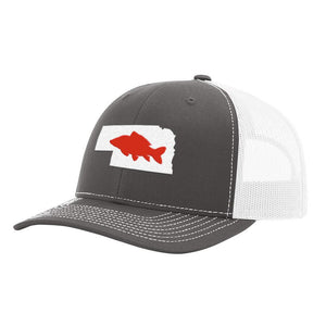 Nebraska Carp Fishing Hat- Charcoal/White - Bucks of America