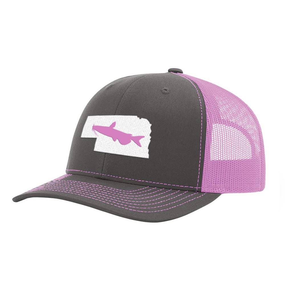 Nebraska Catfish Fishing Hat- Charcoal / Pink - Bucks of America