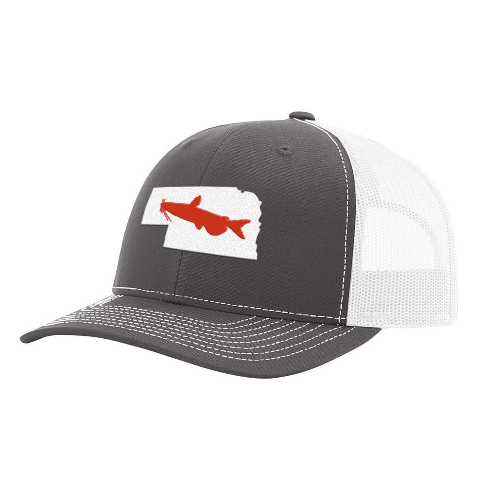 Nebraska Catfish Hat- Charcoal/White - Bucks of America