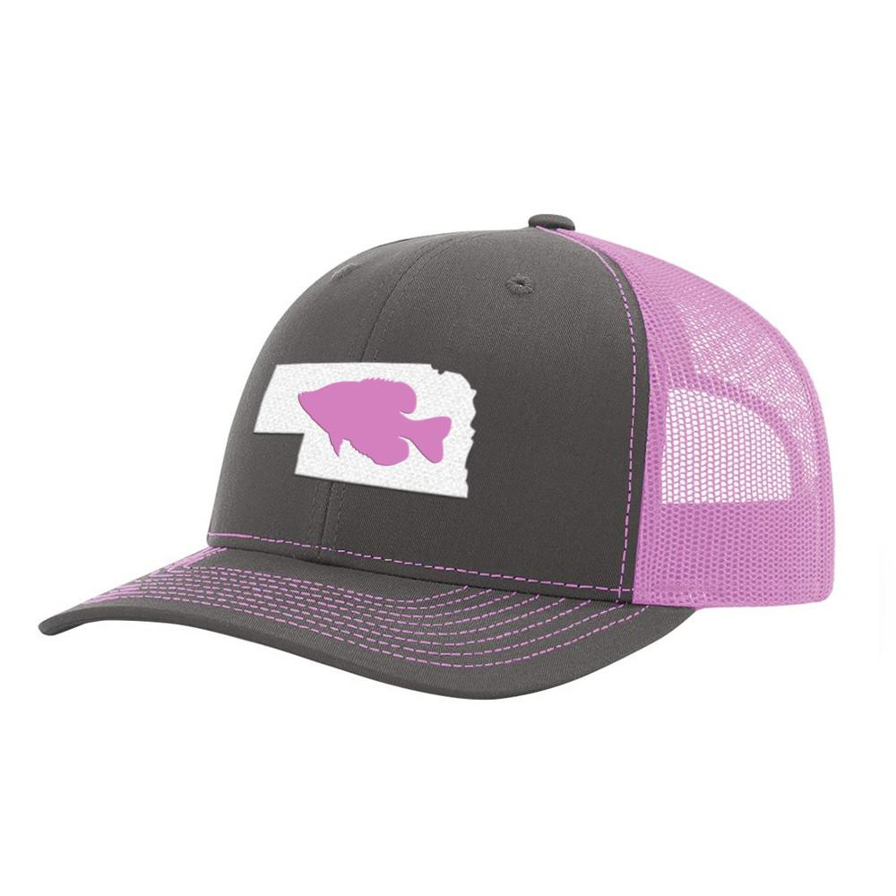 Nebraska Crappie Fishing Hat- Charcoal / Pink - Bucks of America