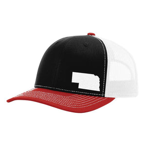 Nebraska State Outline Hat - Black / White / Red - Bucks of America