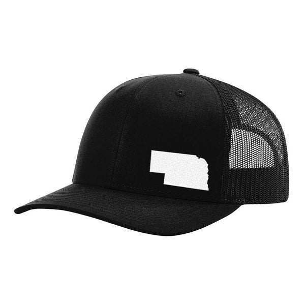 Nebraska State Outline Hat - Black - Bucks of America