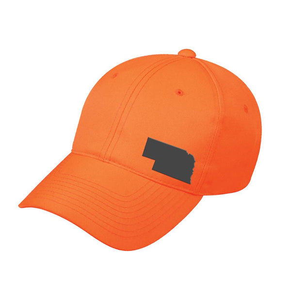 Nebraska State Outline Blaze Orange Cap - Bucks of America