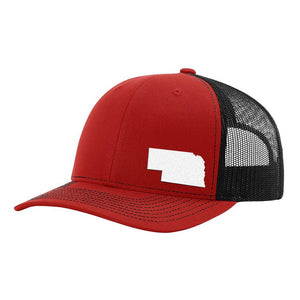 Nebraska State Outline Hat - Red / Black - Bucks of America