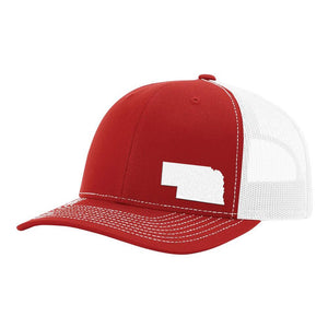 Nebraska State Outline Hat - Red / White - Bucks of America