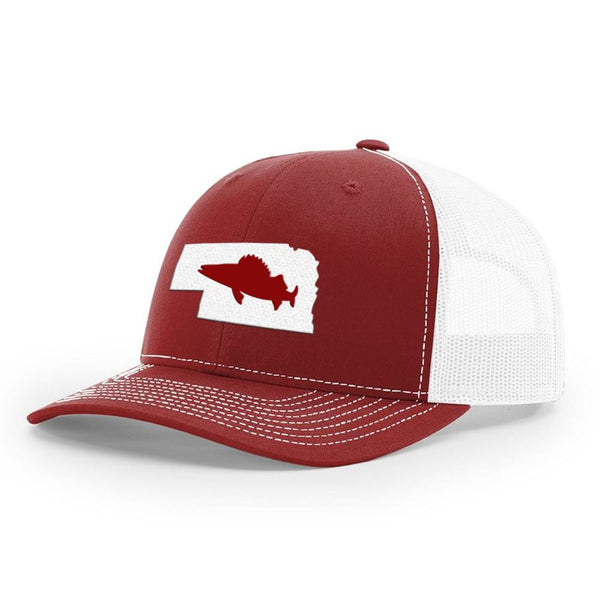 Nebraska Walleye Hat - Cardinal/White - Bucks of America
