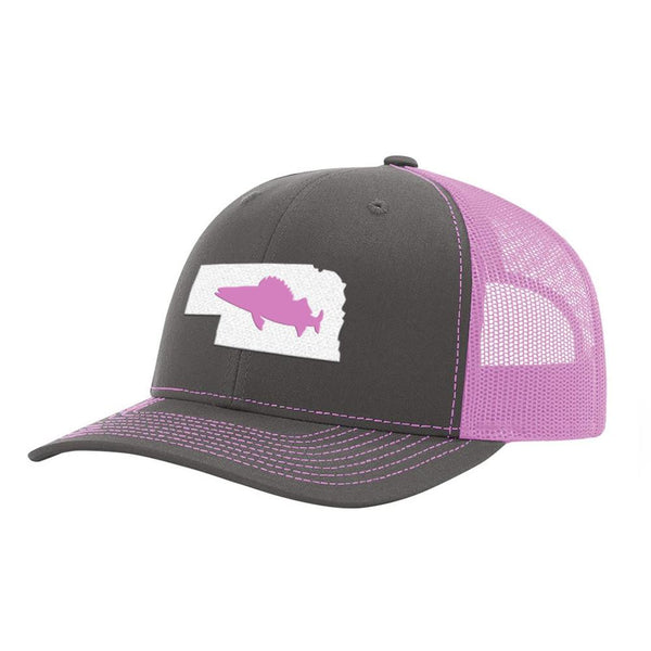 Nebraska Walleye Fishing Hat- Charcoal / Pink - Bucks of America