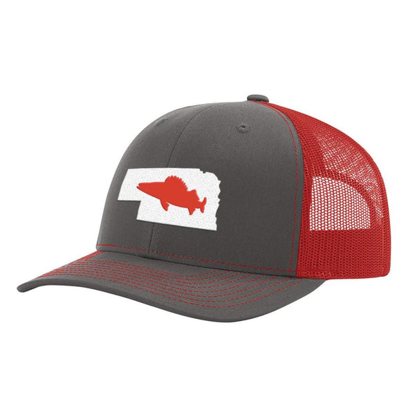 Nebraska Walleye Hat - Charcoal/Red - Bucks of America