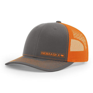 Nebraska State Hat - Charcoal / Orange
