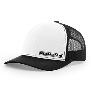 Nebraska State Hat - White / Black
