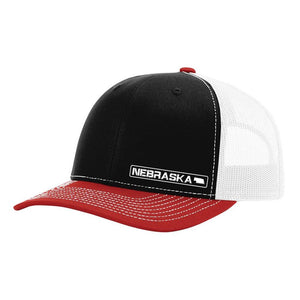 Nebraska State Hat - Black / White / Red