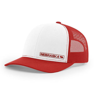 Nebraska State Hat - White / Red
