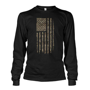 Camo Worn Flag Long Sleeve Shirt - Bucks of America