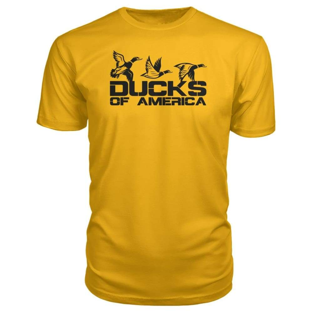Ducks Of America (Black) Premium Unisex Tee - Gold / S - Short Sleeves