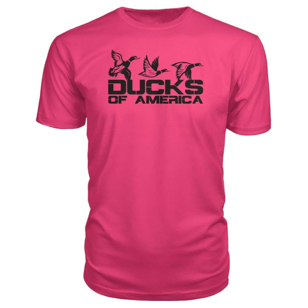 Ducks Of America (Black) Premium Unisex Tee - Hot Pink / S - Short Sleeves
