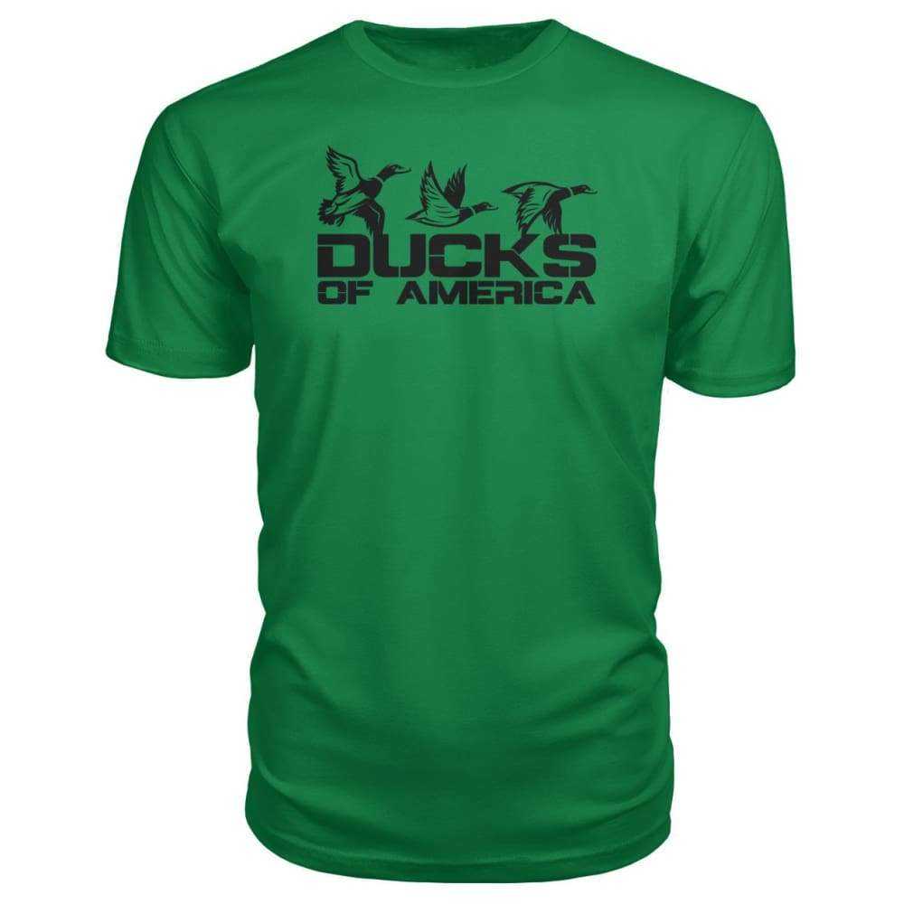 Ducks Of America (Black) Premium Unisex Tee - Kelly Green / S - Short Sleeves