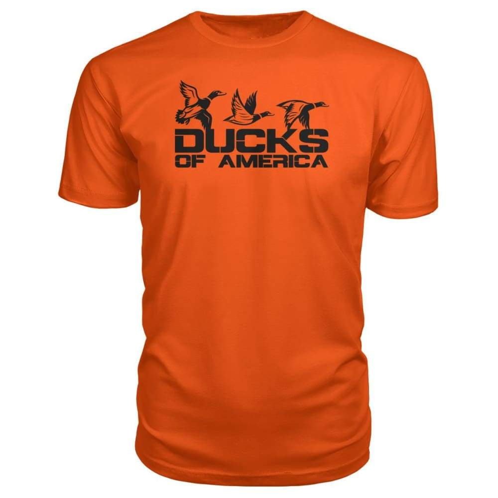 Ducks Of America (Black) Premium Unisex Tee - Orange / S - Short Sleeves