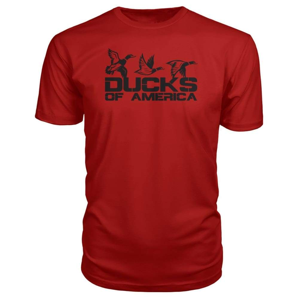 Ducks Of America (Black) Premium Unisex Tee - Red / S - Short Sleeves
