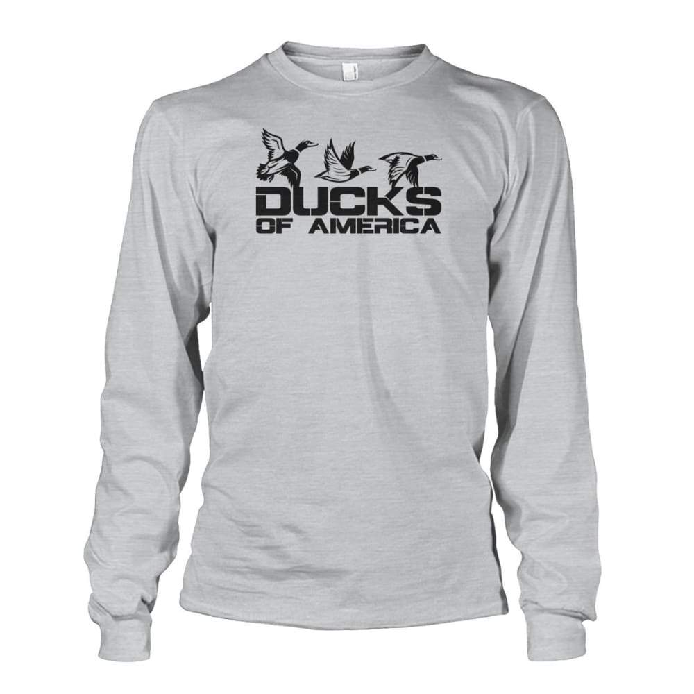 Ducks Of America (Black) Unisex Long Sleeve - Ash Grey / S - Long Sleeves