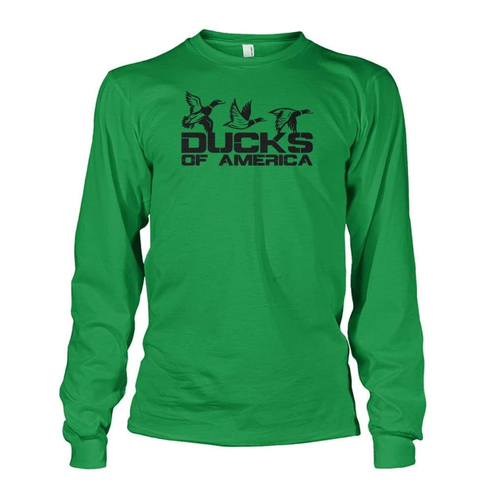 Ducks Of America (Black) Unisex Long Sleeve - Irish Green / S - Long Sleeves