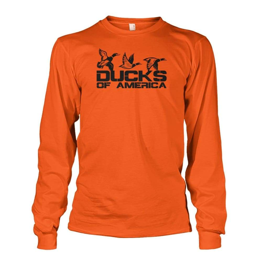 Ducks Of America (Black) Unisex Long Sleeve - Orange / S - Long Sleeves